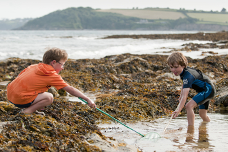 Young boys rock pooling with nets, The Wildlife Trusts