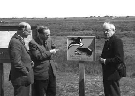Max Nicholson, Ted Smith & Lord Hurcomb at Gibraltar Point in 1960