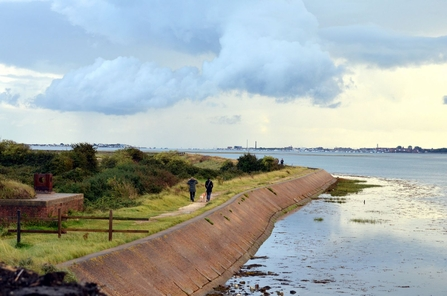 People walking at Farlington Marshes