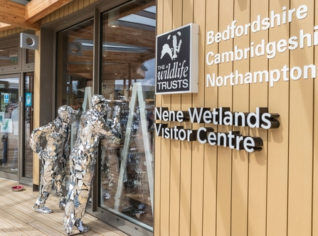 Two sculpture men peer in through windows at Nene wetlands visitor centre, The Wildlife Trusts