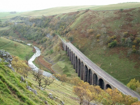 An aerial view of an old railway viaduct at Smardale Gill
