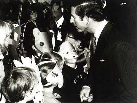 His Royal Highness Prince Charles speaks to young Watch members at the launch of the British Wildlife Appeal, 1985