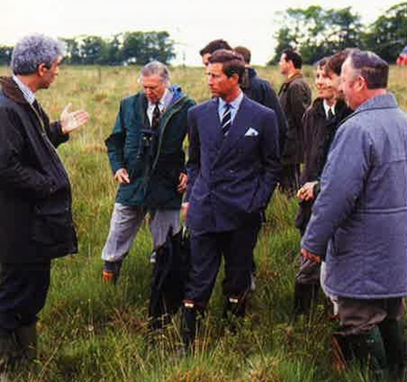 Paul Gompertz, Director of Devon Wildlife Trust (left), with Sir David Attenborough and HRH The Prince of Wales on a Culm grassland site, 1992