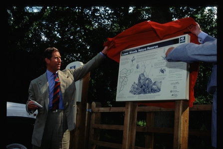 Prince Charles formally opening Gloucestershire Wildlife Trust's Lower Woods Reserve in 1997