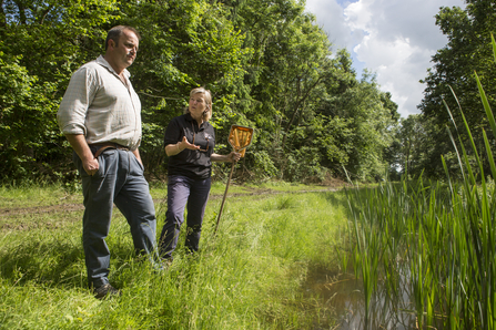 Stephen Honeywood pond sampling with Wildlife Trusts farm advisor