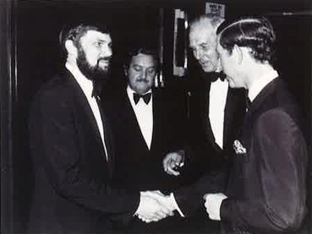 His Royal Highness at the royal premiere of 1978 film Watership Down. L-R Tim Sands, Gren Lucas and Christopher Cadbury