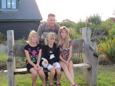 Florrie and her sisters with Chris Packham