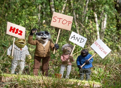 puppets protesting